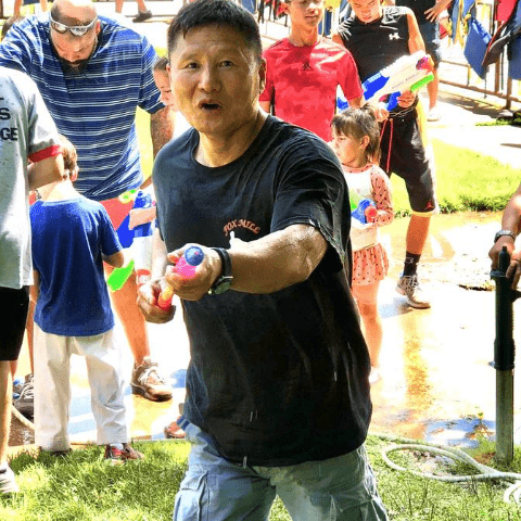 Master tak with a water gun